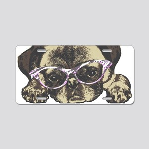 Pug in Pink. For any one th Aluminum License Plate