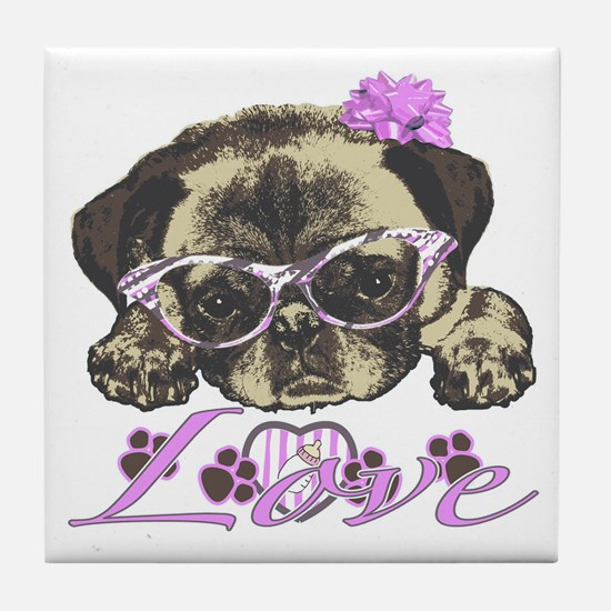 Pug in Pink. For any one that loves p Tile Coaster
