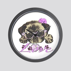 Pug in Pink. For any one that loves pug Wall Clock