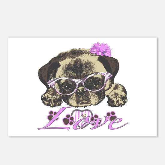 Pug in Pink. For any one Postcards (Package of 8)