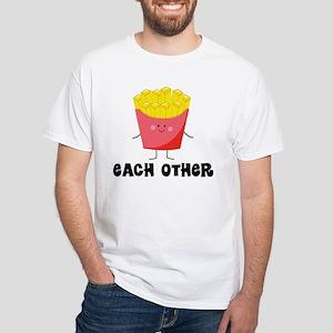 Fries and Hamburger White T-Shirt