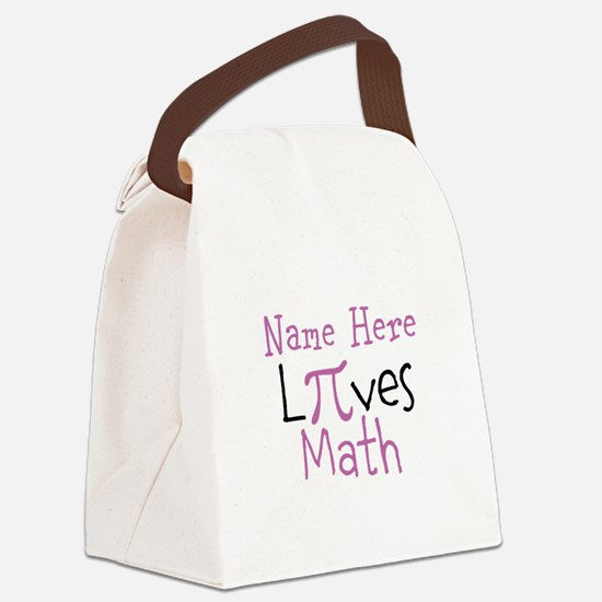Pi PERSONALIZED Loves Math Canvas Lunch Bag