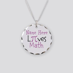Pi PERSONALIZED Loves Math Necklace Circle Charm