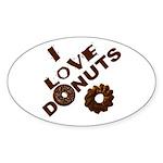 I Love Donuts! Oval Sticker