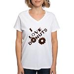 I Love Donuts! Women's V-Neck T-Shirt