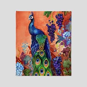Peacock Bird Grape Artwork Throw Blanket