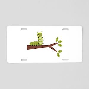 Caterpillar on Twig Aluminum License Plate