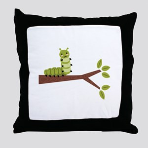 Caterpillar on Twig Throw Pillow
