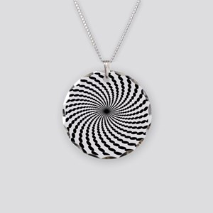 Hypnotic Spiral Necklace Circle Charm