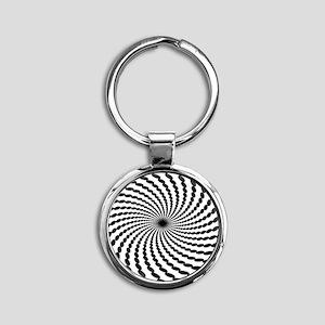 Hypnotic Spiral Round Keychain