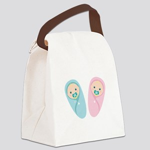Newborn Twins Canvas Lunch Bag
