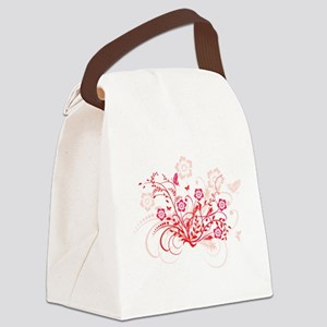 RED SWIRLY FLOWERS Canvas Lunch Bag