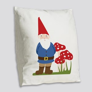 Garden Gnome Burlap Throw Pillow