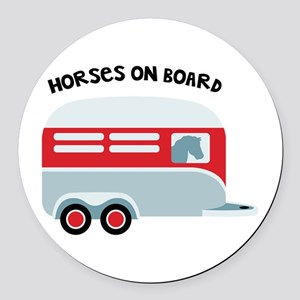 HORSES ON BOARD Round Car Magnet