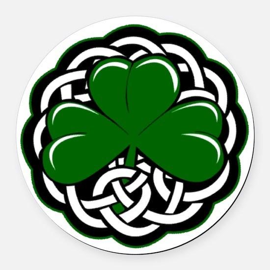 Celtic Shamrock Round Car Magnet