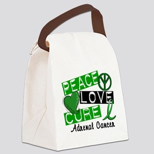 Peace Love Cure 1 Adrenal Cancer Canvas Lunch Bag