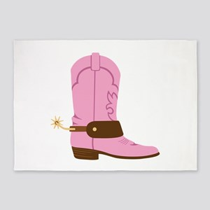 Pink Cowgirl Boot Spurs 5'x7'Area Rug