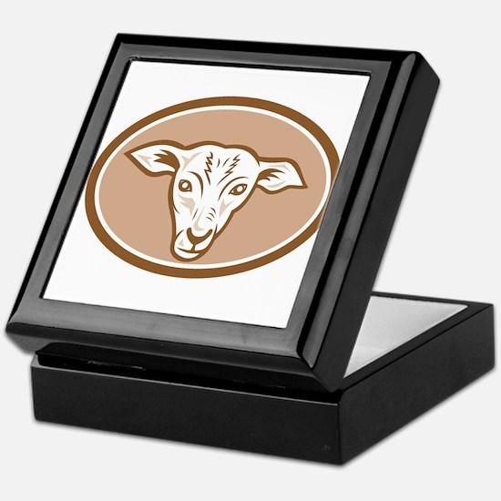 Sheep Head Oval Cartoon Keepsake Box