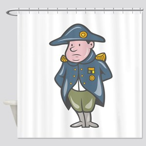French Military General Cartoon Shower Curtain