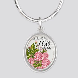 100th Birthday Celebration Silver Oval Necklaces