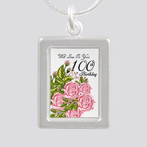 100th Birthday Pink Rose Silver Portrait Necklaces