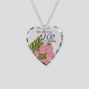 100th Birthday Pink Rose Necklace Heart Charm