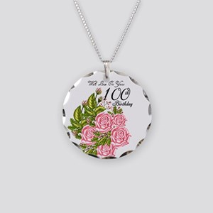 100th Birthday Pink Rose Necklace Circle Charm