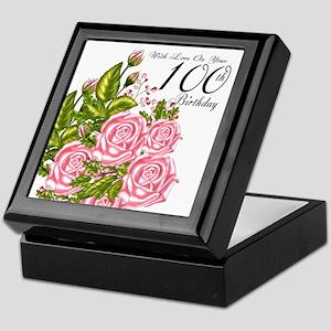 100th Birthday Pink Rose Keepsake Box