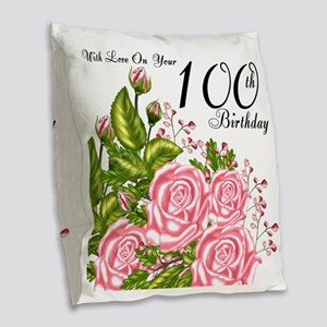 100th Birthday Pink Rose Burlap Throw Pillow