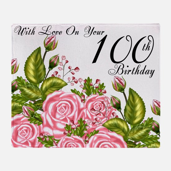 100th Birthday Pink Rose Throw Blanket