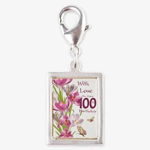 100th Birthday Pink Crocus Silver Portrait Charms