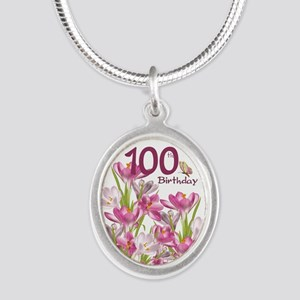 100th Birthday Pink Crocus Silver Oval Necklaces