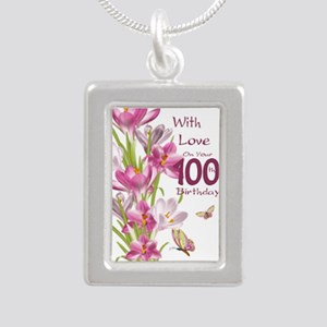 100th Birthday Crocus Silver Portrait Necklaces