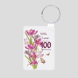 100th Birthday Pink Crocus Aluminum Keychains