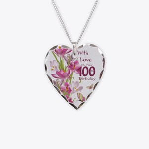 100th Birthday Pink Crocus Necklace Heart Charm