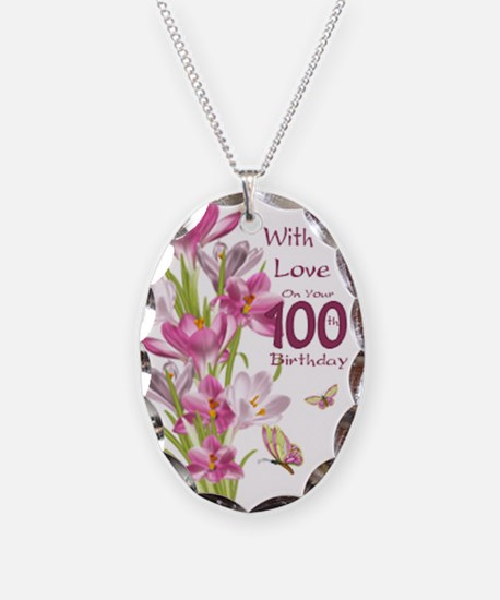 100th Birthday Pink Crocus Necklace Oval Charm