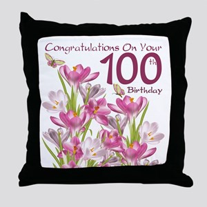 100th Birthday Pink Crocus Throw Pillow