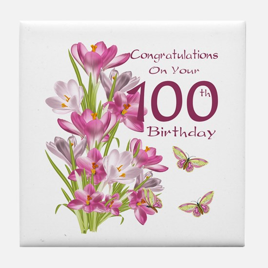 100th Birthday Pink Crocus Tile Coaster