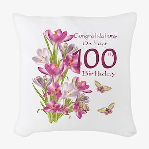 100th Birthday Pink Crocus Woven Throw Pillow
