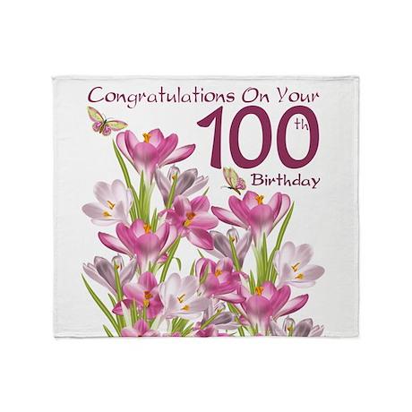 100th Birthday Pink Crocus Throw Blanket