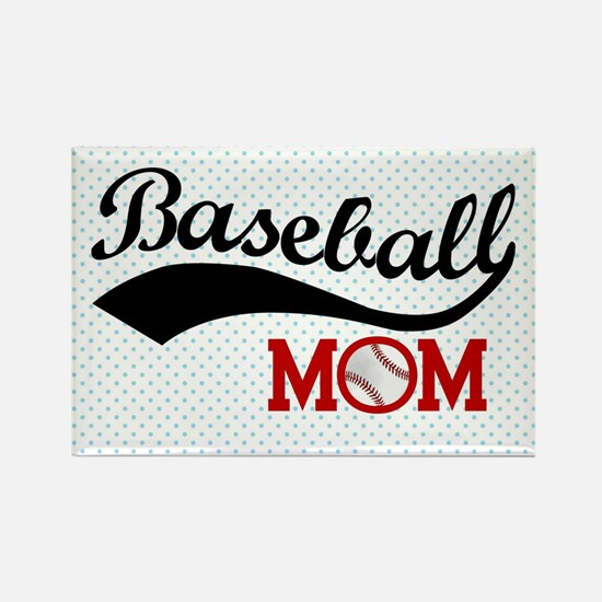 Baseball Mom Red/Blue Polka Dot Rectangle Magnet