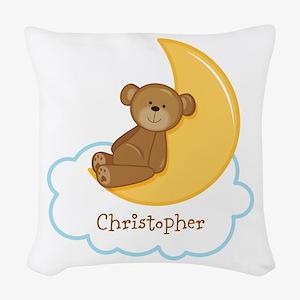 PD Teddy Bear Moon Woven Throw Pillow