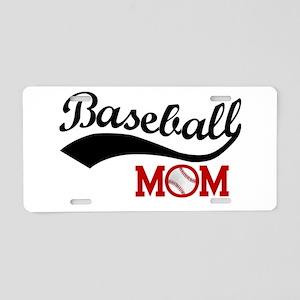 Baseball Mom Red/Black Wave Aluminum License Plate