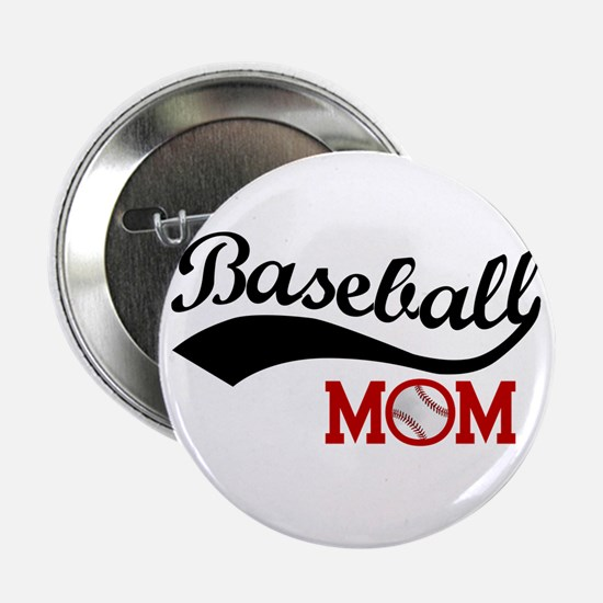 """Baseball Mom Red/black Wave 2.25"""" Button"""
