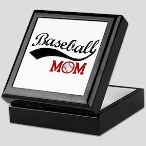 Baseball Mom Red/black Wave Keepsake Box