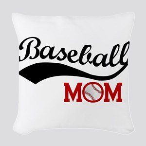 Baseball Mom Red/black Wave Woven Throw Pillow