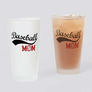 Baseball Mom Red/Black Wave Drinking Glass