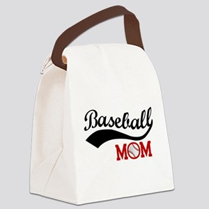 Baseball Mom Red/Black Wave Canvas Lunch Bag