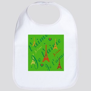 Trendy Green French I LOVE PARIS Bib