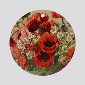 Red Poppy Bouquet Ornament (Round)
